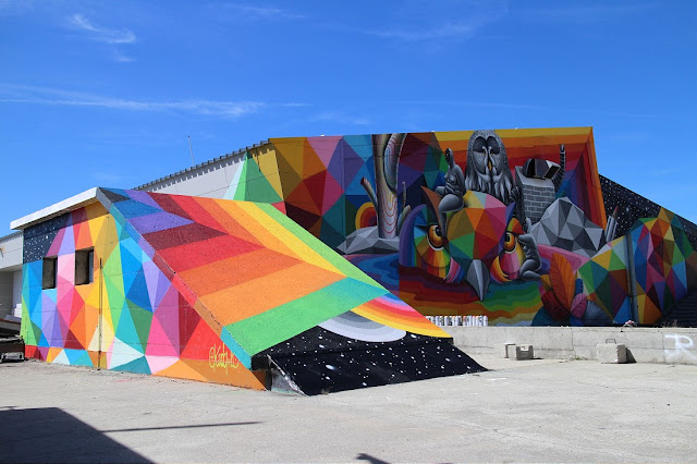Okuda recently spent few days in Swiss alps, working on this fantastic new piece for the first edition of the unique Vision Art Festival. Being one of the first artist to round up his work, we're happy to share the photos of this beauty in its full glory.
