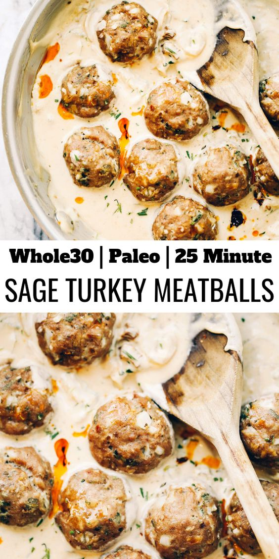 Turkey Sausage Meatballs In Sage Cream Sauce #breakfast #turkey #sausage #meatballs #sage #cream #sauce