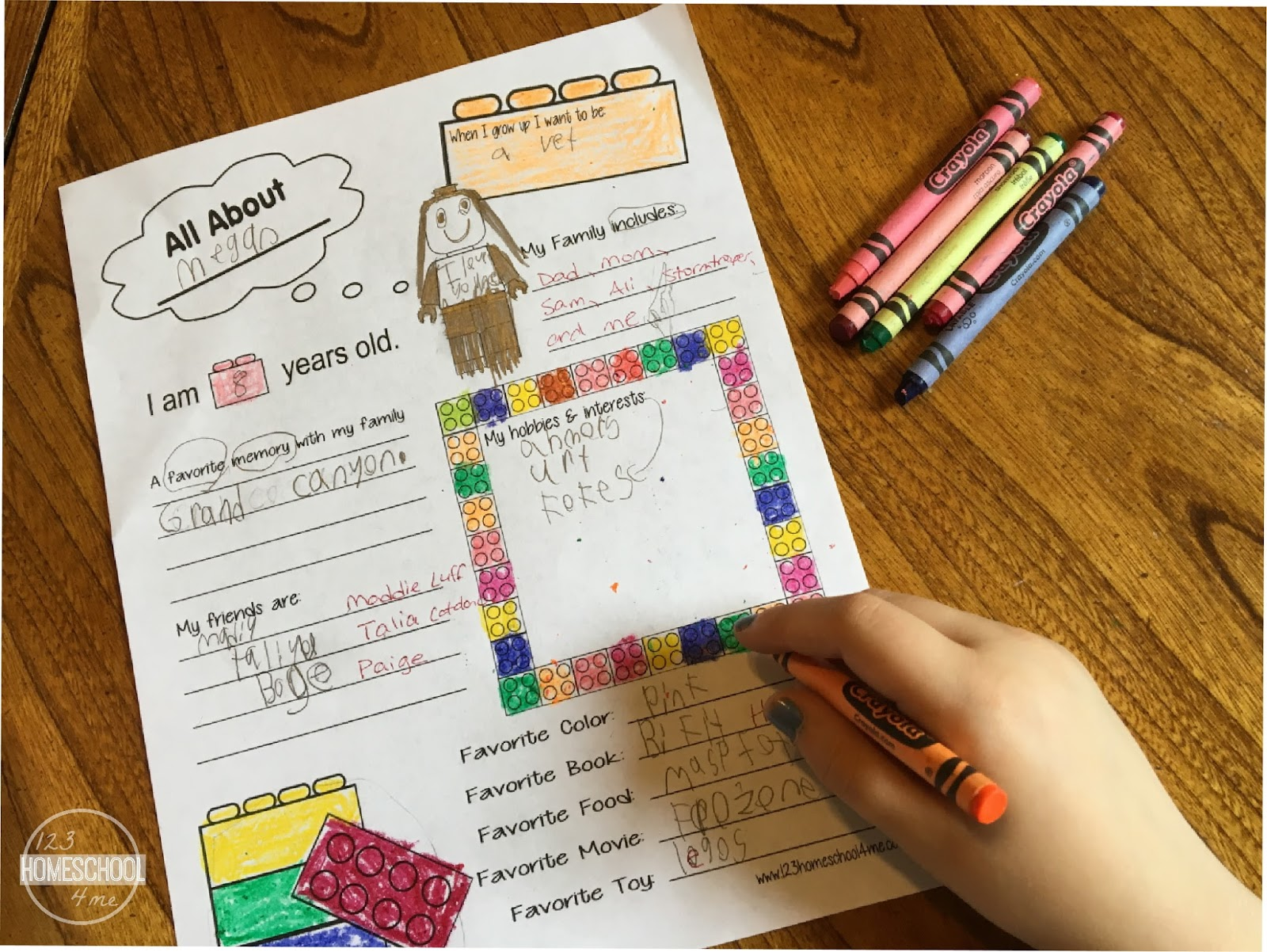 FREE All About Me Worksheet  Lego Style  Download Brick Style All About Me Worksheets
