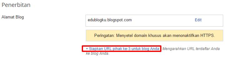 Klik Tautan Siapkan URL pihak ke-3 untuk blog Anda