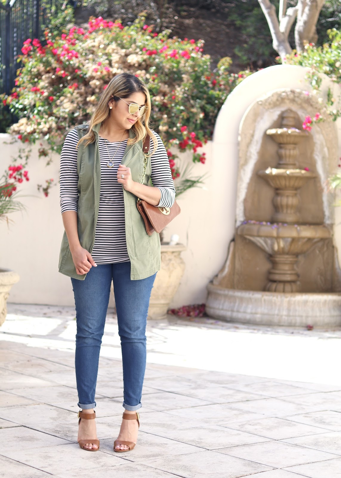 Utility Vest and Stripes Outfit, Cabi Explorer Vest, Cabi Blogger, San Diego Fashion Blogger