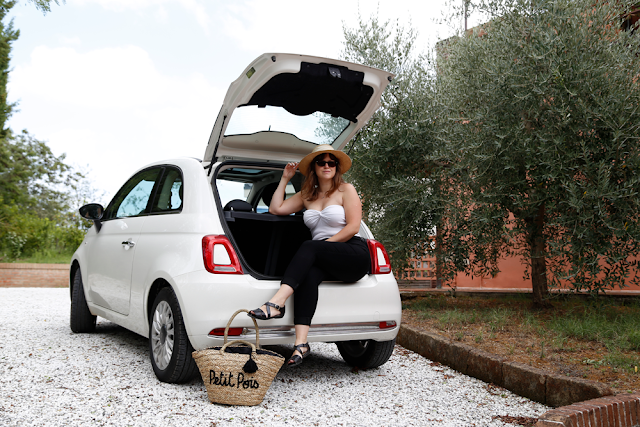 Katy Sitting on Boot of White Fiat 500 in Tuscan Countryside, Italy