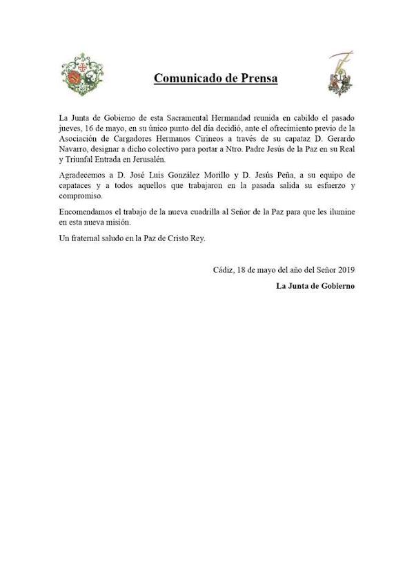 Cambio de Capataz en la Borriquita de Cádiz