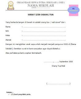 contoh surat izin untuk menjadi pengurus osis (surat ijin dari orangtua/ wali siswa)
