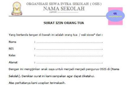 Surat Izin Menjadi Pengurus OSIS