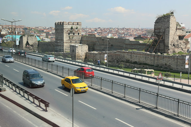 The remaining city walls built by Romans and Byzantines and the ancient Chora Church (Kariye Museum) is located behind the city walls in Istanbul, Turkey
