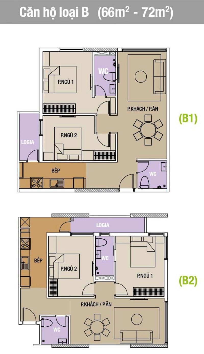 Mặt bằng căn hộ loại A.