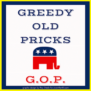 A white background with Greedy Old Pricks G.O.P. and the Republican Party's elephant.