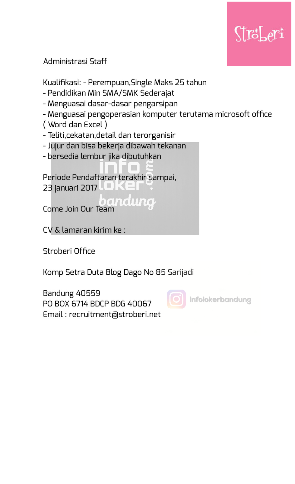 Lowongan Kerja Stroberi Bandung Januari 2017
