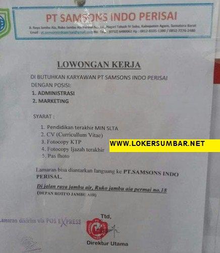 Lowongan Kerja di Padang – PT.Samson Indo Perisai – 2 Posisi (Januari 2017)