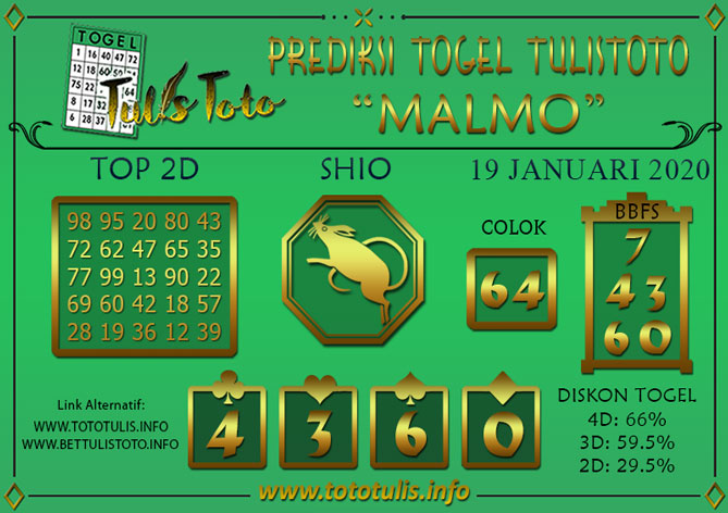Prediksi Togel MALMO TULISTOTO 19 JANUARI 2020