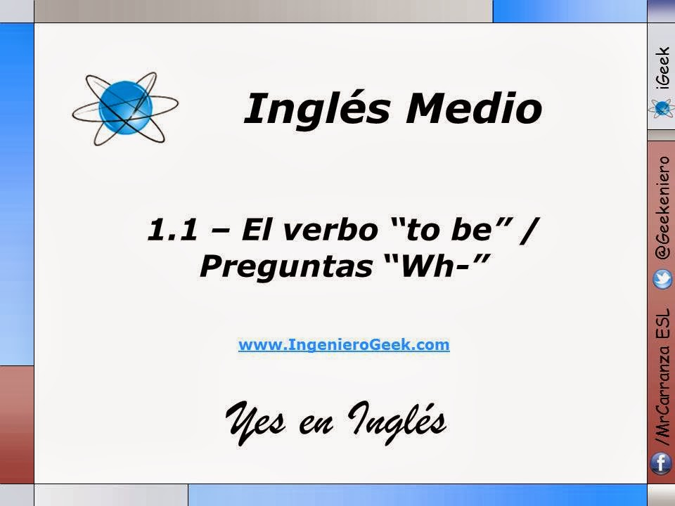 Igeek 11 El Verbo To Be Oraciones Y Preguntas Con Wh
