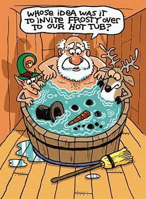 funny pics santa father christmas hot tub frosty snowman