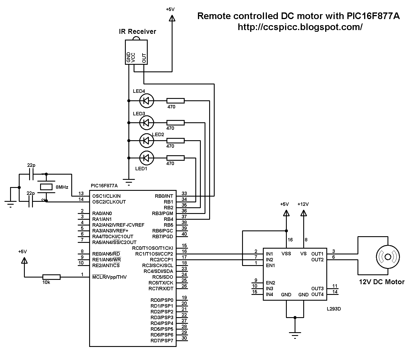 Remote controlled DC motor using PIC16F877A microcontroller