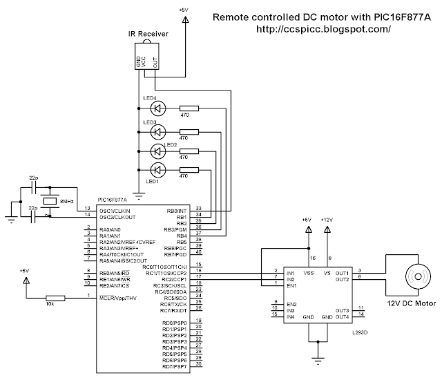 RC5 infra red IR remote controlled DC motor using PIC16F877A microcontroller L293D circuit CCS PIC C