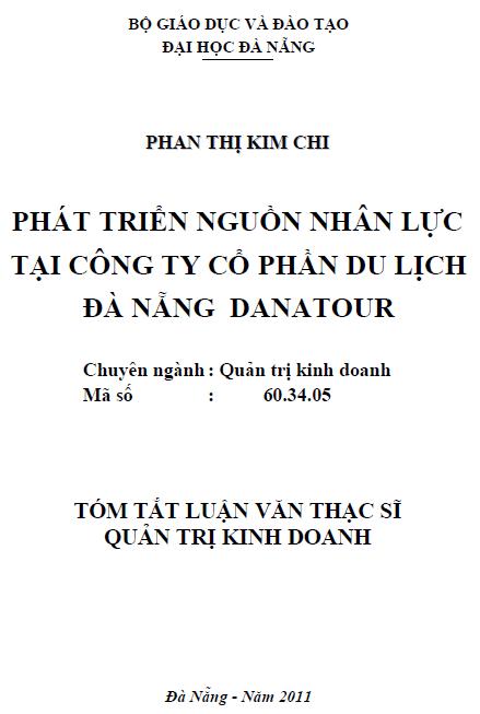 Phát triển nguồn nhân lực tại công ty cổ phần du lịch Đà Nẵng Danatour