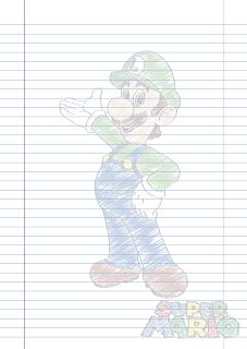 Folha Papel Pautado Luigi rabiscado em PDF para imprimir folha A4