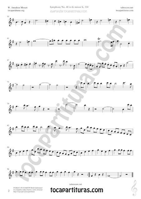 2  Symphony Nº 40 Sheet Music for Alto and Baritone Saxophone Music Scores PDF and MIDI here