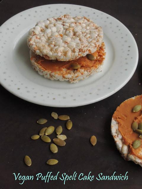 Vegan Puffed spelt cake sandwich