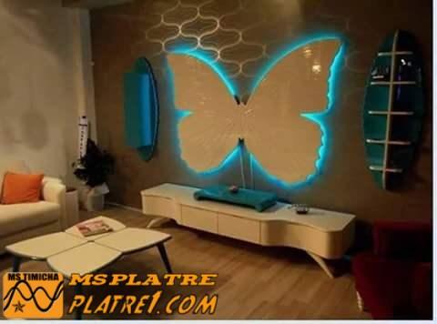 D cor de papillon en pl tre pour les chambres des filles for Decoration platre chambre