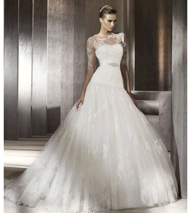 Drop Sleeve Wedding Gowns With: A Peep At Lacey Wedding Dresses...