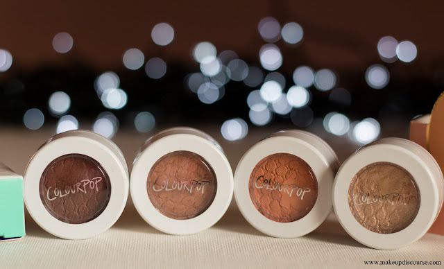 Colourpop Warm-toned neutral eyeshadow swatches