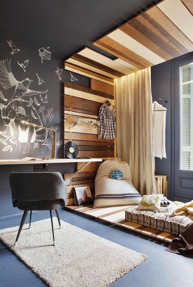 Trucos para decorar dormitorios de adolescentes, dormitorio en gris y madera