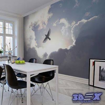 3d Wallpaper Designs, 3d Wallpaper For Walls, 3d Clouds Wallpaper For  Dining Room