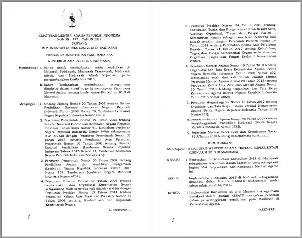Keputusan Menteri Agama Republik Indonesia Nomor 117 Tahun 2014 Tentang Implementasi  Kurikulum 2013 di Madrasah