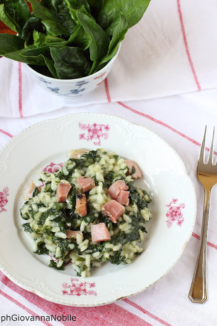 Risotto con spinaci, pecorino toscano e lardomagro