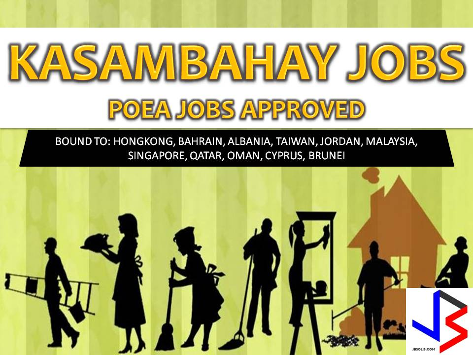 Another job opportunities for Filipinos who want to try their luck working in other countries as household workers or domestic workers.  If you are interested, scroll down below to see the list of job orders from the website of Philippine Overseas Employment Administration (POEA). Please be reminded that we are not a recruitment industry and we are not affiliated to any of the agencies mentioned here below. All the job orders were taken from the POEA jobs order website and were only linked to agency details for easier navigation for the visitors.