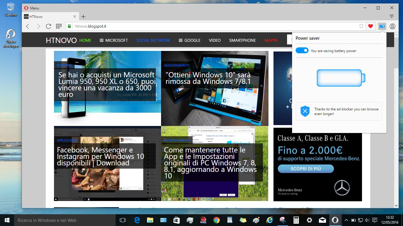 Opera Browser introduce la modalità di risparmio batteria HTNovo