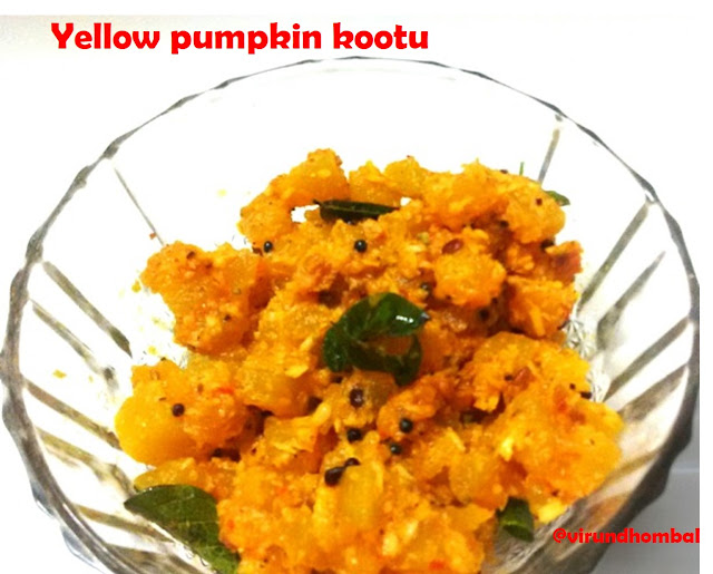 Yellow pumpkin kootu - Usually we prepare kootu with the addition of moongdal or channa dal. For this yellow pumpkin kootu we do not add any dals, just the coconut masala paste and a small piece of jaggery. This kootu has a bright yellow colour with a mild sweetness.Yellow pumpkins are soft in nature and it is a perfect vegetable for kootu and sambar. This pumpkin kootu tastes best for pulikuzhambu and sambar. Creeper vegetables like yellow pumpkin, white pumpkin, bottle gourd, ridge gourd etc. are easily cooked with little water.They are usually soft and require very less time to cook. The skin of these vegetables are hard to remove. So, peel them gently with a knife. In some places, pumpkins are cooked along with the skin, but it is very hard to eat. You can check out my other kootu recipes here with step by step photos