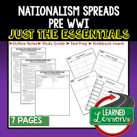 Nationalism Spreads, World History Outline Notes, World History Test Prep, World History Test Review, World History Study Guide, World History Summer School Outline, World History Unit Overview, World History Interactive Notebook Inserts
