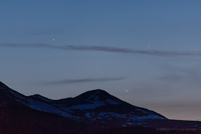 Pursuing the Venus, Jupiter, Mercury conjunction on May 26, 2013. Too high of a horizon at Mono Lake!