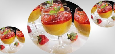 Resep Puding Mangga Saus Strawberry