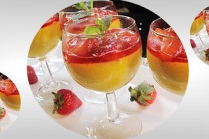 Resep Puding Mangga Saus Strawberry