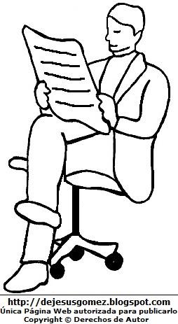 Dibujo de un hombre adulto sentado para colorear, pintar e imprimir. Dibujo de hombre hecho por Jesus Gómez