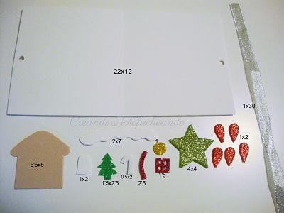 materiales y medidas para casita de jengibre y flor de navidad en goma eva