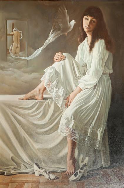 Alberto Pancorbo arte moderno hiperrealista surrealista soledad mujer pensativa