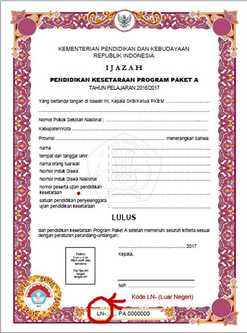 format halaman depan ijazah pendidikan kesetaraan program paket A yang diterbitkan di luar negeri