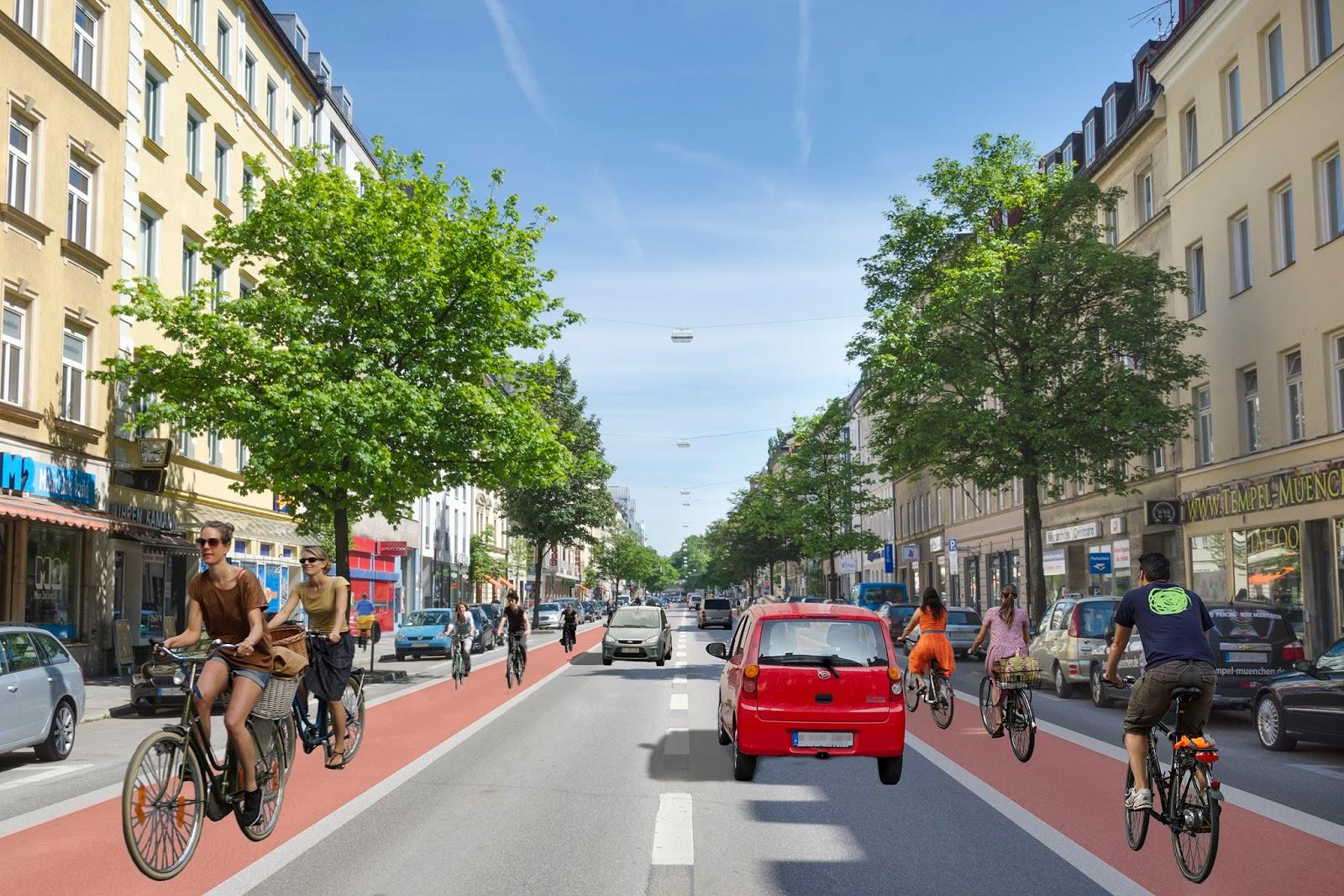 Wie von Green City schon 2013 gefordert könnte es bald in der Rosenheimer Straße aussehen.