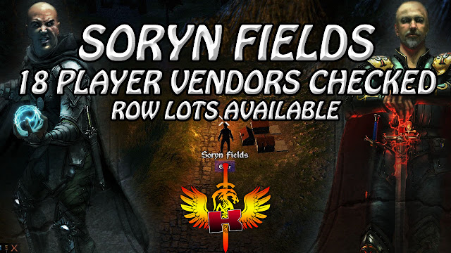 Soryn Fields, 18 Player Vendors Checked, Row Lots Available (7/3/2017)