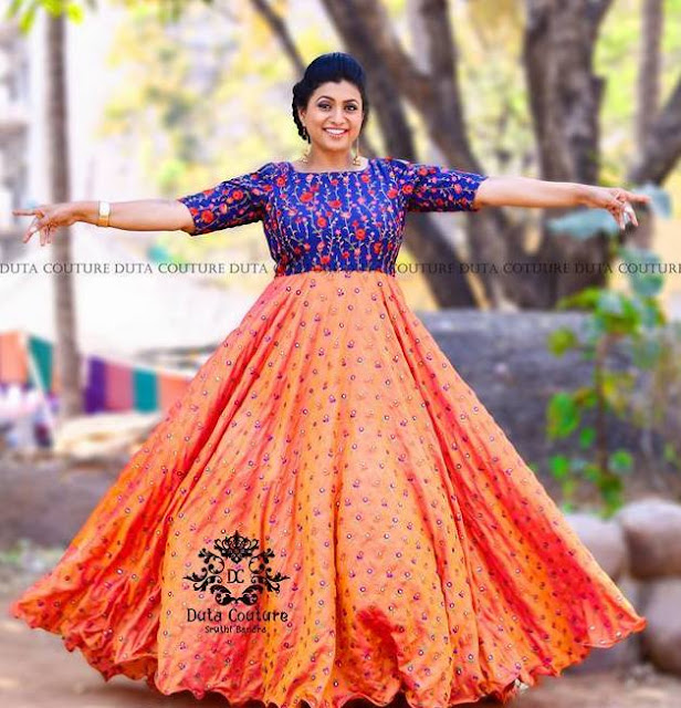 Roja Peach And Blue Long Frock Indian Dresses