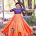 Roja Peach and Blue Long Frock