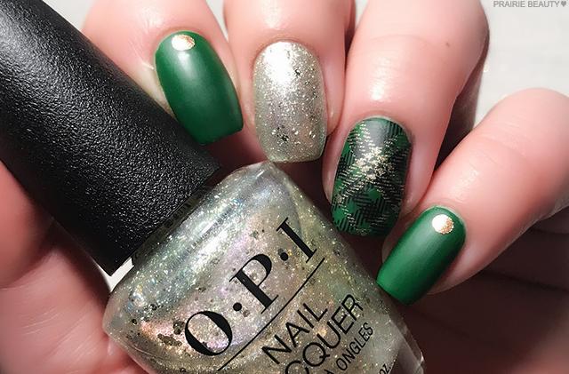 Prairie Beauty 12 Nails Of Christmas Green Gold Plaid Nail Art