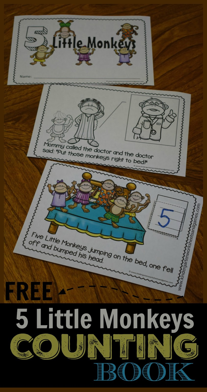 Kindergarten Worksheets and Games: FREE 5 Little Monkeys Counting Book