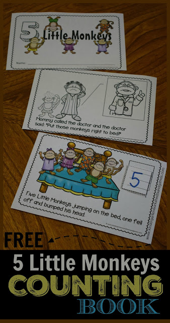 FREE 5 Little Monkeys Counting Book is such a fun way to teach this classic nursery rhymes to preschool, prek, and kindergarten age children. This free printable activity is in color or black and white and helps with getting ready to read, counting, strengthening fine motor skills, and more!