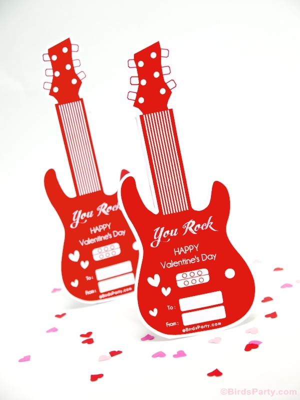 Valentine's Day DIY Favor & Free Guitar Party Printables - BirdsParty.com