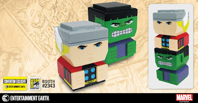 San Diego Comic-Con 2017 Exclusive Marvel Thor & Hulk Tiki Tiki Totem Wooden Stackable Figure Set by Entertainment Earth